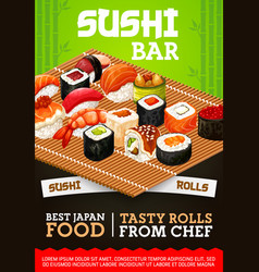 Japanese sushi bar sashimi and maki rolls menu vector