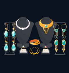 Jewelry shop window concept earrings and vector