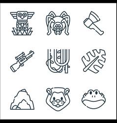 Jungle line icons linear set quality line set vector