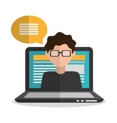 Laptop and boy blogger design vector