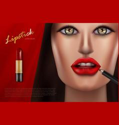 luxury lipstick cosmetics make up beauty product vector image