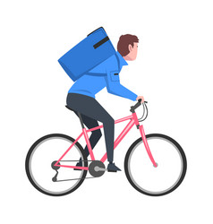 Male courier riding bicycle with blue parcel box vector