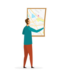 Man reading topographic map vector