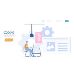 man working with coding vector image
