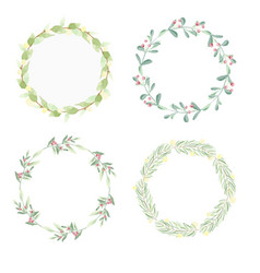 minimal christmas watercolor leaf wreath frame vector image