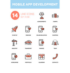 Mobile app development - modern line design icons vector