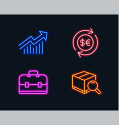 Money currency portfolio and demand curve icons vector