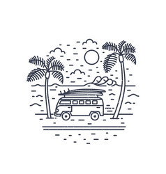 Monochrome composition with camper trailer or vector