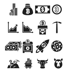 monochrome cripto currency icons vector image