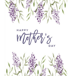 mothers day lavender watercolor flower card vector image