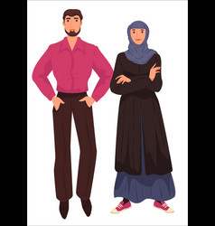 muslim couple arab clothes male and female vector image