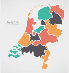 Netherlands map with states and modern round vector