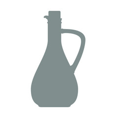 Olive oil bottle silhouette with vintage style vector