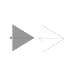 Paper airplane grey set icon vector