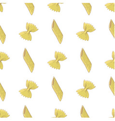 Pasta seamless vertical pattern colored hand vector