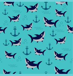 pattern with shark vector image