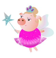pink fairy pig with wings and magic wand vector image