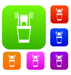 Plastic cup with brushes set collection vector