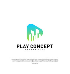 play media city logo design concept stats play vector image