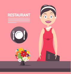 restaurant manager woth flowers on pink vector image