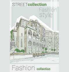 Retro sketch city fashion street collection vector
