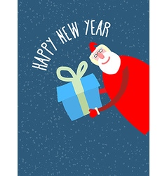 Santa Claus gives reat gift holiday card vector image vector image