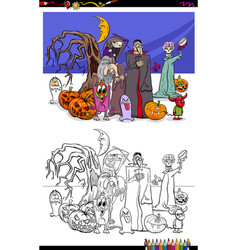 scary halloween cartoon characters coloring book vector image