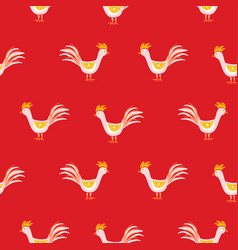 seamless pattern with cute roosters on red vector image