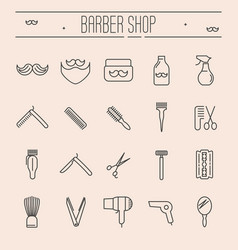 set minimalistic barber shop icons vector image