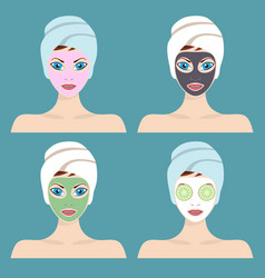 Set of 4 women with cosmetic face masks vector