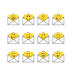 set of thin line emoji messages letters vector image