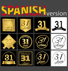Spanish set of number 31 templates vector
