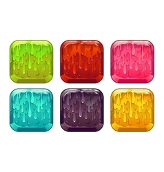 Square colorful slime buttons set vector