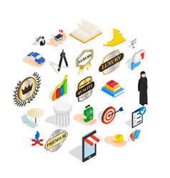 successful team icons set isometric style vector image