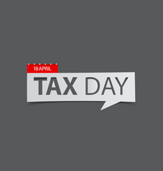 tax day banner isolated on gray background vector image