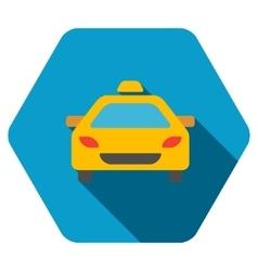 Taxi Car Flat Hexagon Icon with Long Shadow vector image