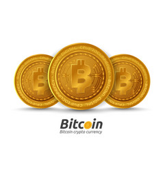three golden bitcoin sign on white background vector image