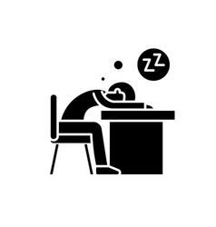 Tired at work black icon sign on isolated vector