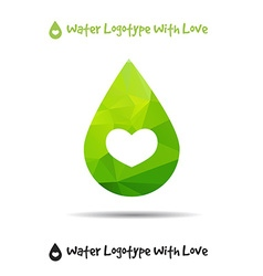 Triangle logo of drop ecology logo with heart vector