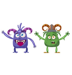 troll and yeti cute funny fairytale character vector image