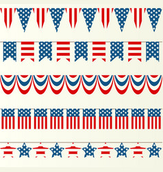 usa flag ribbons vector image