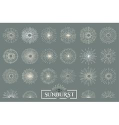 Vintage set sunburst vector image