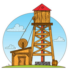 Water tower vintage structures design gaming vector