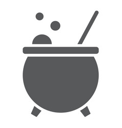 Witch cauldron glyph icon magic and witchcraft vector