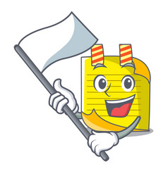with flag mascot note paper with bookmark vector image