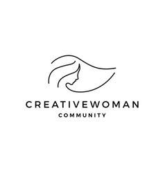 woman logo icon line outline monoline vector image