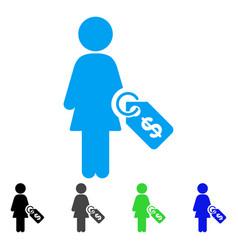 woman price tag icon vector image
