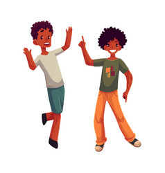 Black african american boys kids having fun vector