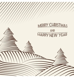 Engraving of christmas trees on the hills vector