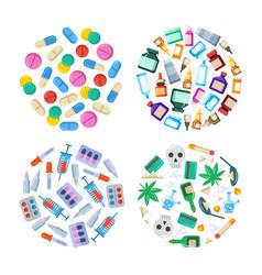 medicine cartoon pill drug table antibiotics vector image vector image
